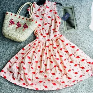 Flamingo dress and matching flamingo purse